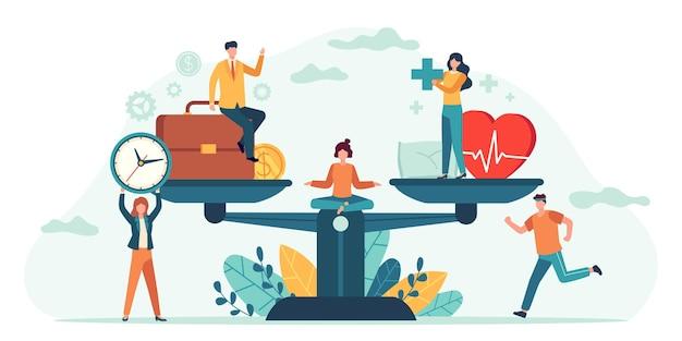Gesundheit und arbeit auf waagen. menschen gleichen job, geld und schlaf aus. vergleich geschäftlicher stress und gesundes leben. winzige mitarbeiter vektorkonzept. abbildung der messung der gleichstellung von gesundheit und arbeit