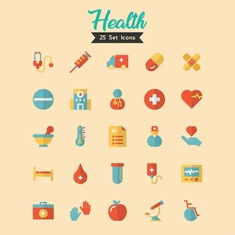 Gesundheits-ikonen-gesetzter flacher stil