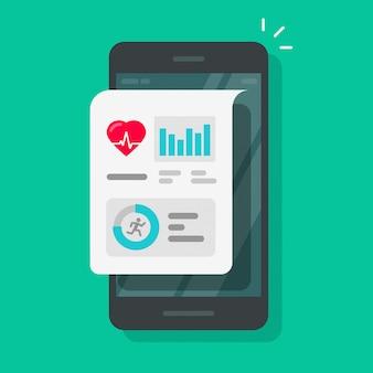Gesundheits- oder eignungsverfolger-app auf flacher karikatur des handys