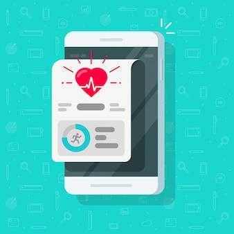 Gesundheits- oder eignungsverfolger-app auf flacher karikatur des handyschirmes