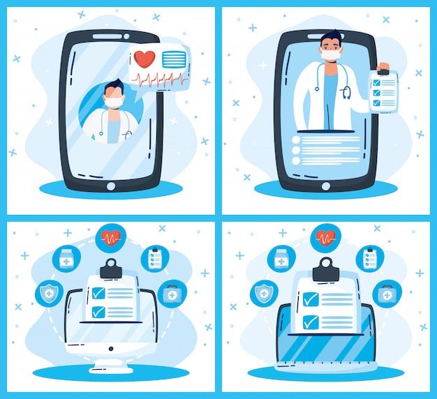 Gesundheits-online-technologie mit geräten und ärzten