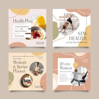 Gesundheits- und fitness-instagram-posts-sammlung mit foto