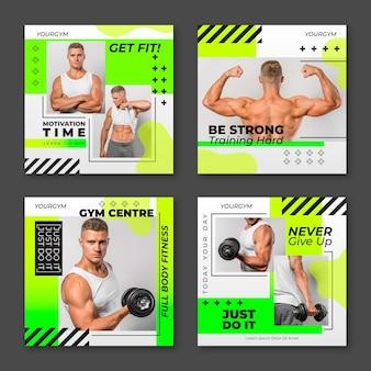 Gesundheits- und fitness-postpaket mit farbverlauf mit foto