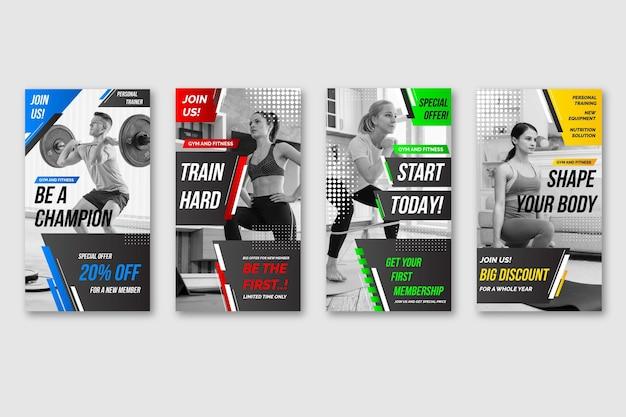 Gesundheits- und fitnessgeschichte mit farbverlauf und foto