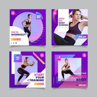 Gesundheits- und fitnessgeschichtensammlung mit farbverlauf mit foto