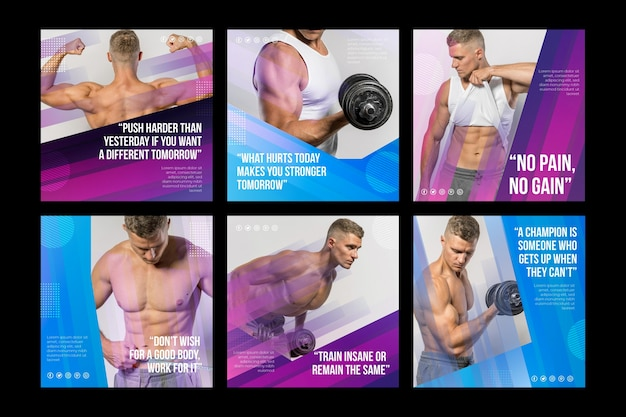 Gesundheits- und fitnesspostsammlung mit farbverlauf mit foto