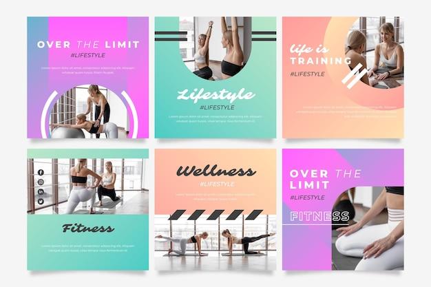 Gesundheits- und fitnesspostsammlung mit farbverlauf