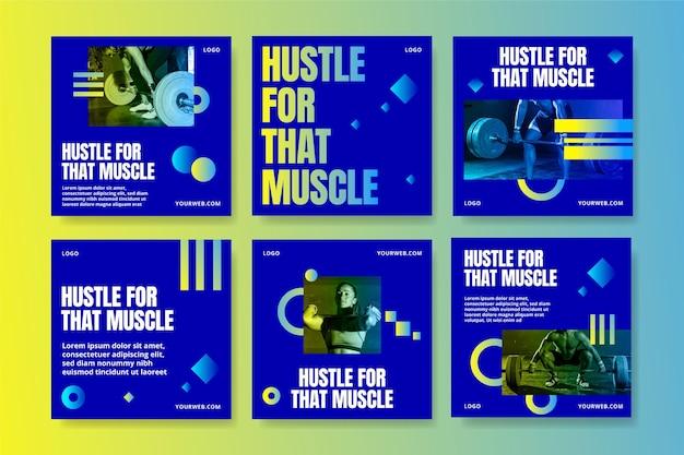 Gesundheits- und fitnesspostset mit farbverlauf