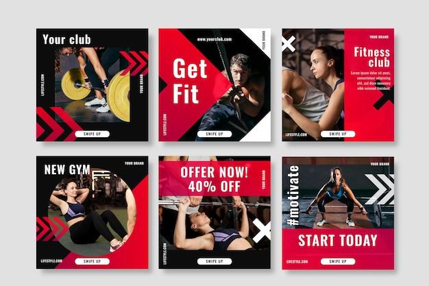Gesundheits- und fitnesspostset mit foto