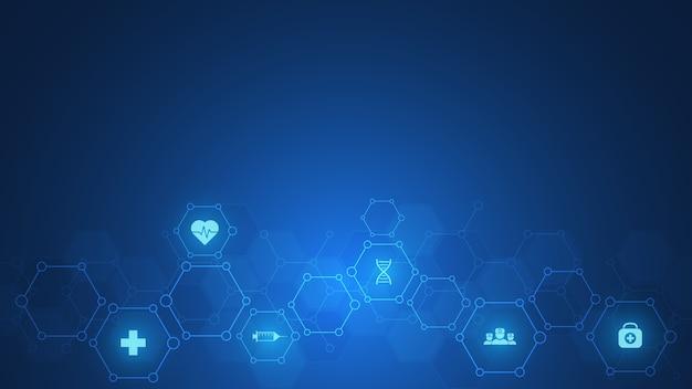 Gesundheits- und technologiekonzept mit flachen symbolen und symbolen. vorlagenentwurf für gesundheitsgeschäft, innovationsmedizin, naturwissenschaftlichen hintergrund, medizinische forschung.