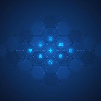 Gesundheits- und technologiekonzept mit flachen symbolen und symbolen