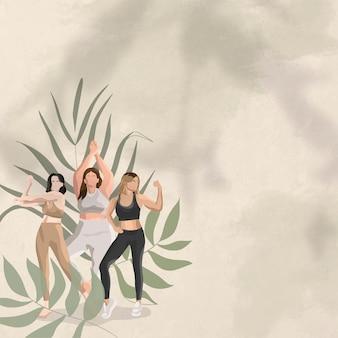 Gesundheits- und wellnessvektorhintergrund grün mit frauen, die illustration biegen