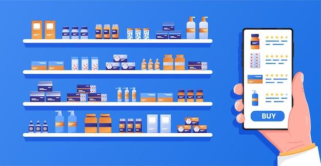Gesundheitsanwendung auf dem smartphone hand, die mobiltelefon mit internet-apotheken-shopping-app hält
