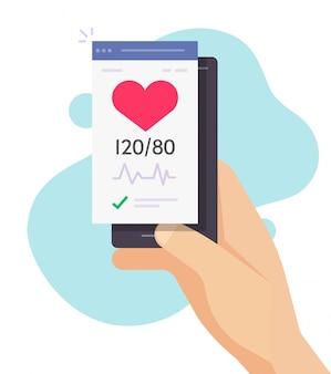 Gesundheitscheck test handy app tracker vektor mit mann herzschlag guten blutdruck puls kardiogramm