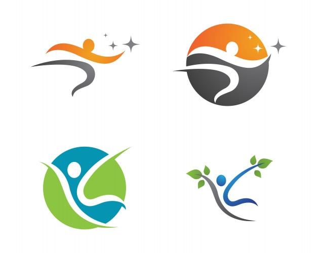 Gesundheitserfolgleute interessieren sich logo und symbolschablone