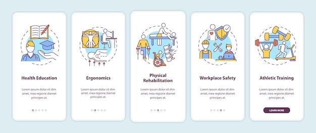 Gesundheitserziehung onboarding mobile app seite bildschirm mit konzepten.