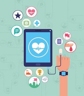 Gesundheitsgerätekarte mit apps