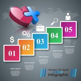 Gesundheitsikone 3d medizinische infographic.