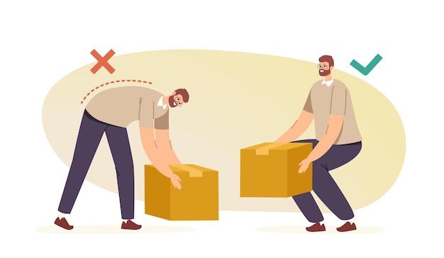 Gesundheitskonzept für rücken und wirbelsäule. männliche charaktere tragen kartons richtig und falsch in den händen