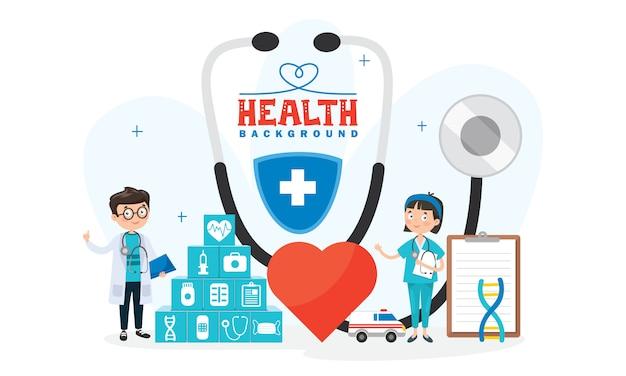 Gesundheitskonzept mit charakteren