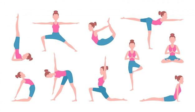 Gesundheitskonzeptbilder der frau yoga machend. fitnessübungen