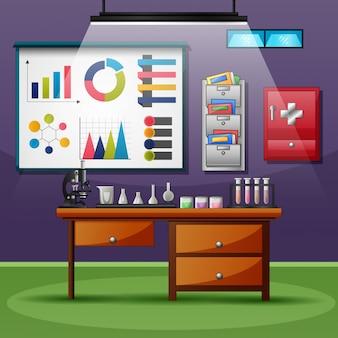 Gesundheitslaborraum mit glaswaren und ausrüstung