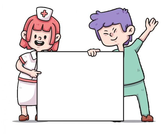Gesundheitspersonal, das banner covid-19 illustration hält