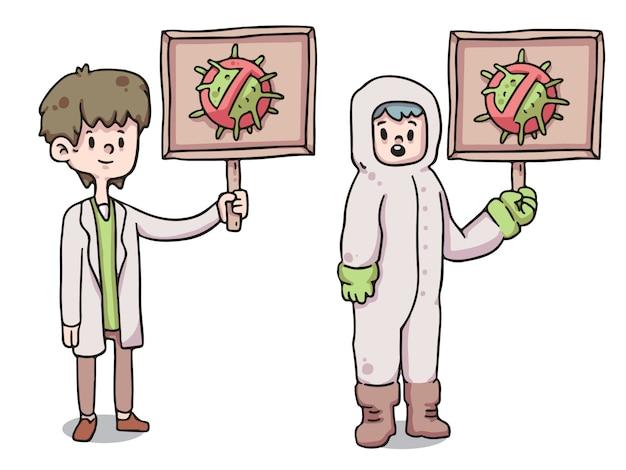 Gesundheitspersonal, das hält, stoppen die viruszeichen-coronavirus-bewusstseinsillustration