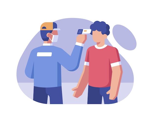 Gesundheitspersonal überprüft die körpertemperatur an der stirn mit einer digitalen thermometerpistole