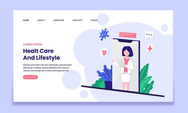 Gesundheitspflege und lifestyle-landingpage