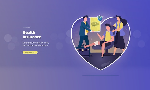 Gesundheitsschutz durch versicherung auf illustrationskonzept