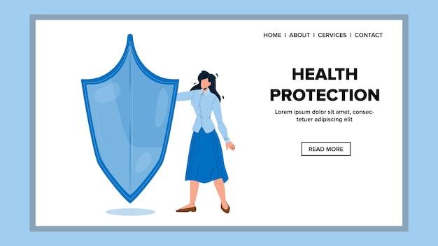 Gesundheitsschutz und medizinische lebenserhaltung vektor. junge frau mit leerem schutzschild, medizin-gesundheitsschutz. charakter mädchen krankenhaus patient web flache karikatur illustration