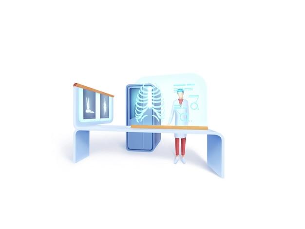 Gesundheitsserie: illustrationskonzept des radiologen