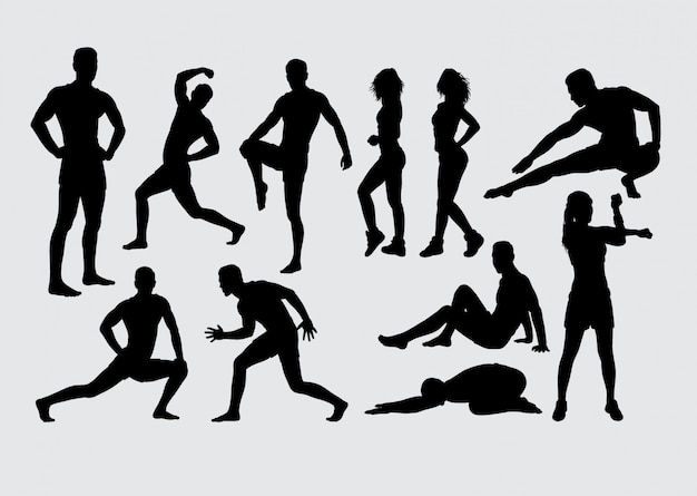 Gesundheitssport männliches und weibliches schattenbild