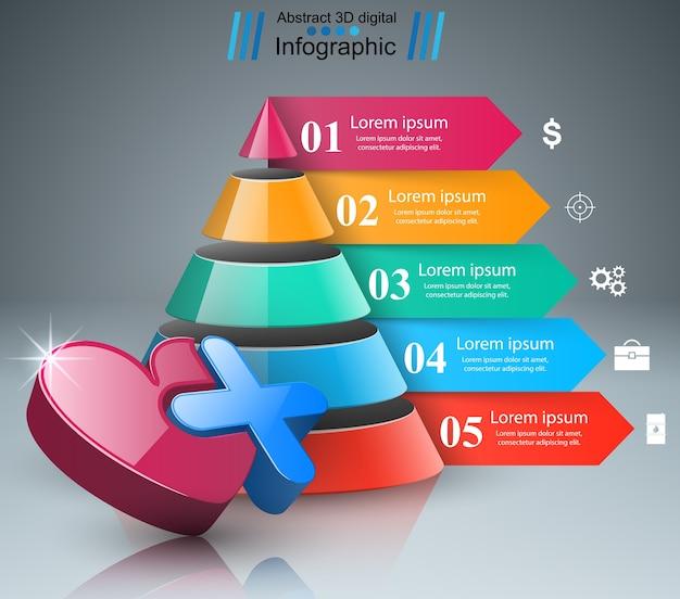 Gesundheitssymbol. 3d medizinische infografik.