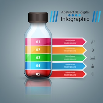 Gesundheitssymbol medizinische infographic 3d.