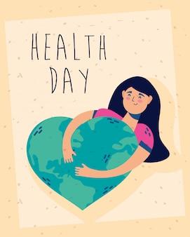 Gesundheitstag feierplakat mit frau und herz erde planet