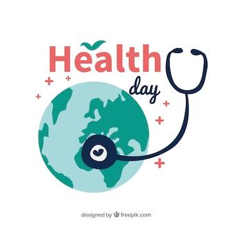 Gesundheitstageshintergrund in der flachen art