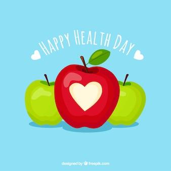 Gesundheitstageshintergrund mit äpfeln