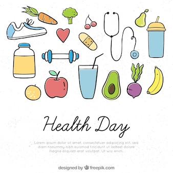 Gesundheitstageshintergrund mit gesunder art des gesunden lebensmittels in der hand