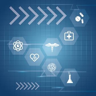 Gesundheitstechnologiekonzept mit medizinischem ikonendesign