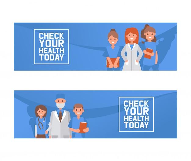 Gesundheitsüberprüfungsvektor-illustrationskonzept, doktoren, die formfahne halten