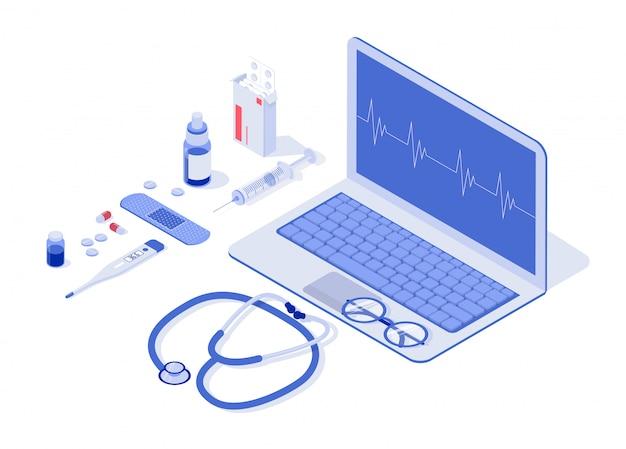 Gesundheitswesen, apotheke und medizinische elemente isometrisch