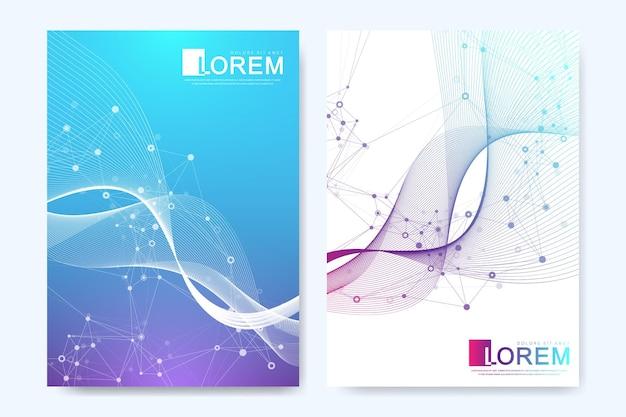 Gesundheitswesen-cover-vorlagendesign für einen bericht und ein medizinisches broschürendesign, flyer, broschüren zum drucken von präsentationen. dna-helix, dna-strang, molekül oder atom, neuronen. vektor-illustration.