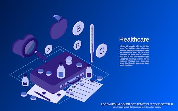 Gesundheitswesen, flache isometrische vektorkonzeptillustration der medizinischen hilfe