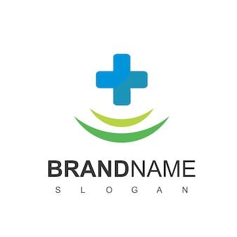 Gesundheitswesen-logo, für medical center, mit linienkreuz-symbol