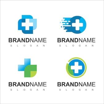 Gesundheitswesen-logo für medizinisches zentrum mit linienkreuz-symbol