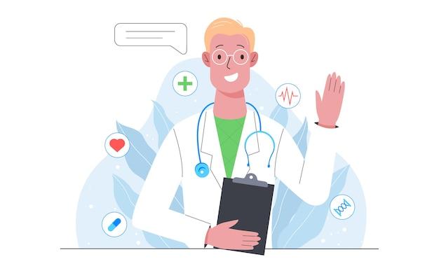 Gesundheitswesen, moderne medizinische behandlung, expertise, diagnose. facharzt für uniform. medizinische behandlung und genesung. isolierte vektorillustration im karikaturstil