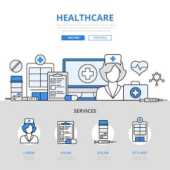 Gesundheitswesen online-krankenhaus checkup ergebnis arzt krankenschwester service-konzept flat line style.