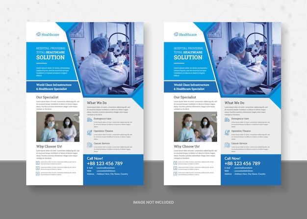 Gesundheitswesen und medizin flyer vorlagendesign